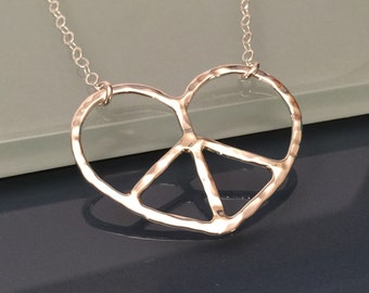 Peace Love Necklace, Peace Heart Necklace