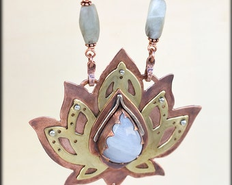 Lotus Necklace: Mixed Metal - Om Necklace - Lotus Flower Necklace - Power Crystals Necklace - Chakra Stone - Unique Pendant Lotus Statement