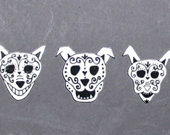 Day of the Dead Art Sugar skull dogs and cat car stickers. #4-8