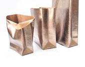 Dark silver leather paperbag