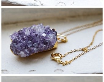 Amethyst Necklace, raw crystal necklace, raw amethyst necklace, raw quartz necklace, amethyst jewelry, raw quartz jewelry, amethyst jewelry