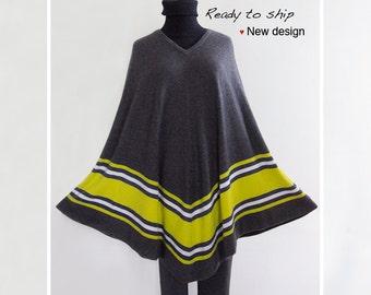 80% cashmere poncho / Extra long poncho/ Cashmere cape / Stripe poncho / V-neck poncho / Poncho / Dark gray