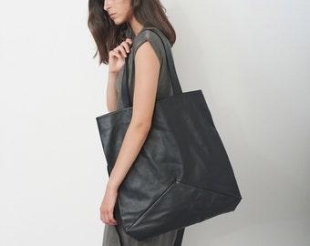 Black Oversized Leather Bag, Extra Large Over The Shoulder Bag, Weekend Bag, Travel Bag, Fashion Bag