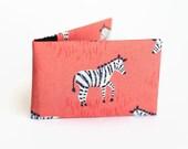 Credit Card Holder, Oyster Card Wallet, Business Card Holder, Subway Pass Case - Zebra on coral
