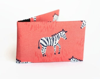 Credit Card Holder, Oyster Card Wallet, Business Card Holder, Subway Pass Case - Zebra on coral
