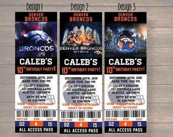 denver broncos, Custom Party Ticket Invitations, Birthday Invitation, denver broncos Birthday Ticket, digital invitation