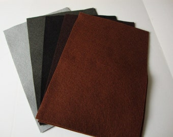True Felt - Neutrals & Darks Wool Felt Assortment, 5 sheets (8x12 inches) in Slate, Anthracite, Ebony, Brown and Chocolate
