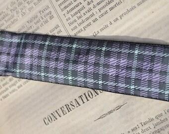 Vintage ribbon trim, French jacquard ribbon, plaid ribbon, grey and purple ribbon, price per yard, 3 centimetres wide
