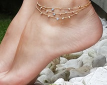 Tiny Evil Eyes Triple Gold Chain Anklet, Anklet, anklet bracelet, gold anklet bracelet, summer jewelry, Gold Tone Anklet, Gift under 20