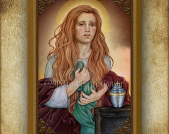 St. Mary Magdalene (B) Wood Icon & Holy Card GIFT SET #3181