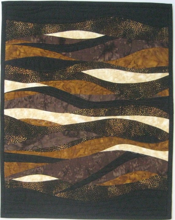 Art Quilt Bright Brown Black and Cream, Quilted Wall Hanging
