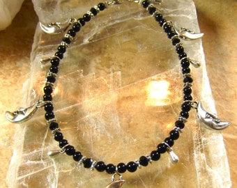 Black Onyx Moon Anklet - Moon Anklet, Black Onyx Anklet, Onyx Anklet, Beaded Anklet, Wiccan Anklet, Moon Jewelry, Moon Anklet Bracelet