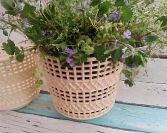 Pair Vintage Flower Pots ~ Plastic Flower Pots ~ Vintage Plant Pots ~ Vintage Plant Holders ~ Shabby Vintage Plant Containers