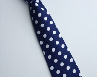 Boys Neck Tie, Navy Blue and White Polka Dot Necktie, Infant Tie, Toddler Neck Tie