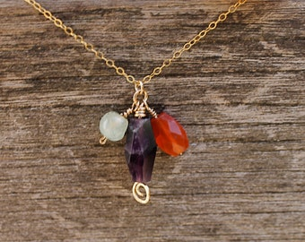 SALE! 14K Gold Amethyst and Carnelian Cluster Necklace