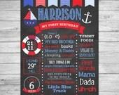 First Birthday Chalkboard of Favorite Things Poster Printable- First Birthday Chalkboard Sign - Nautical Birthday