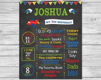 First Birthday Chalkboard Poster Printable - Plane Birthday Chalkboard Sign - Airplane Birthday