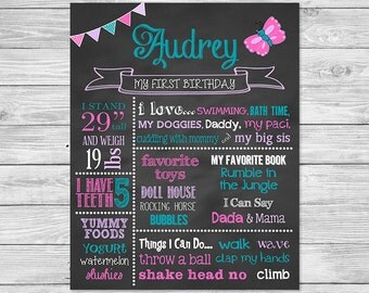 First Birthday Chalkboard of Favorite Things Poster Printable -16x20 -Butterfly Birthday Chalkboard Sign