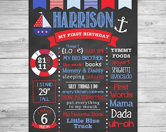 Nautical Birthday Chalkboard of Favorite Things Poster Printable, First Birthday Chalkboard Sign, Nautical Chalkboard