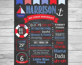 Nautical Birthday Chalkboard of Favorite Things Poster Printable- First Birthday Chalkboard Sign - Nautical Birthday