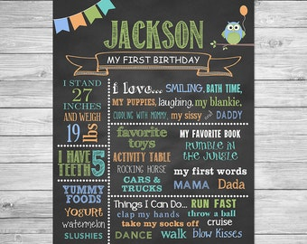 First Birthday Chalkboard of Favorite Things Poster Printable, Owl Birthday, Owl Birthday Chalkboard Sign