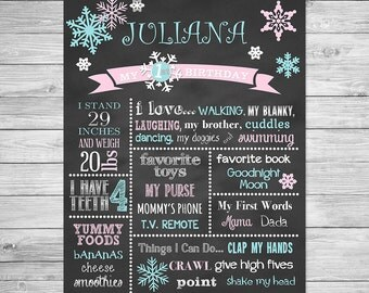 Winter ONEderland First Birthday Chalkboard Printable Poster of Favorite Things -  Birthday Chalkboard Sign - Winter, Snowflake