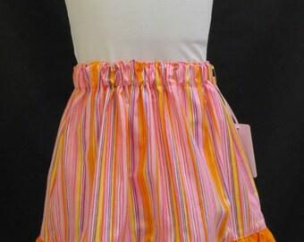 Girls Skirt, Gathered Waist, Multi-Coloured Stripes