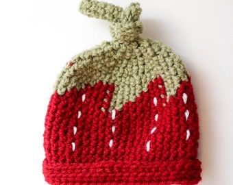 Strawberry Crochet Hat - Multiple Sizes Available