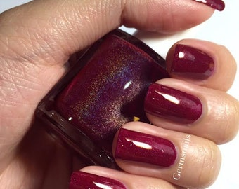 Nail Polish - Caterina - Holographic Burgundy Oxblood Jelly Nail Polish