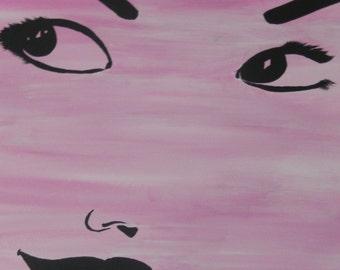 Minimalist Audrey Hepburn on Pink PRINT