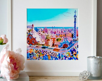 The Park Güell Barcelona Watercolor painting Wall art Cityscape Contemporary art Printable art Barcelona decor Aquarelle Antoni Gaudi