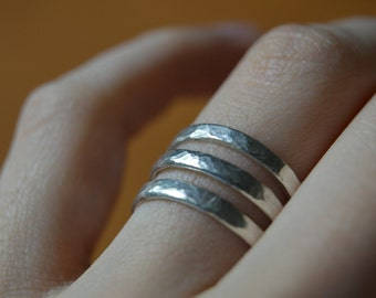 Hammered Sterling Silver Stacking Rings Size 6