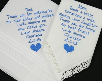 Embroidered wedding hankerchiefs for Mom Dad Personalized Handkerchiefs gifts for Mother of the Bride Father of the Bride Napa Embroidery