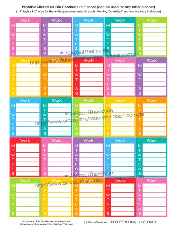 Calendar Planner Stickers : Work planner stickers printable calendar schedule