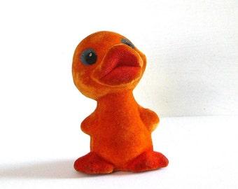 Soviet flocking soft toy DUCKLING, duck from Soviet Union, Russian, Nursery  Decor, Made in USSR, Soviet era,70s