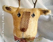 Reindeer On Large Rusty Spring,  Deer Tree Topper