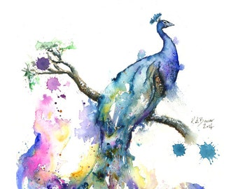 Peacock - Abstract Peacock -  Print of watercolor