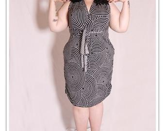 Phoenixx Designs * Gloria Dress * Plus size clothing Uk Dress size 14 16 18 20 22 24 26 BBW Fabric Black &White Polka Dot 1950s Wiggle Dress