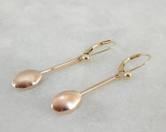 Long And Polished Vintage Drop Earrings In Rose Gold UVKJEC-P