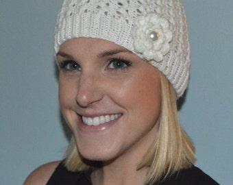 Hand Knit Merino Wool Lacy Hat in Creamy White (Item # 354)