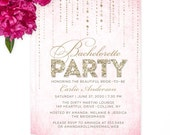 Pink & Gold Glitter Look Bachelorette Party Invitations - DIY Printable or Printed Invitations