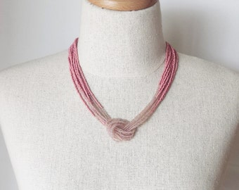 Ombre champagne and marsala necklace,seed bead necklace,mauve necklace,knot necklace,beaded necklace,beaded choker,multistrand,pink necklace