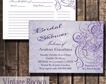 Recipe Bridal Shower Vintage Rococo Invitation Set | Bridal Shower Invitation | Recipe Cards | Shower Invitation | Recipe Invitation