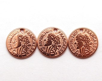 French Coin Charms, 10 Pieces French Francs Old Coins, Rose Gold Coin 1808 Replica, Jewelry Making Parts, Steampunk, DIY projects