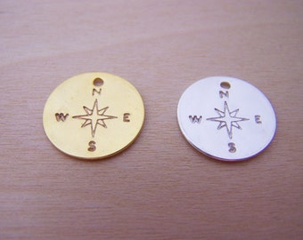 Compass Charm - Gold Disc - Silver Disc - Handmade Charm - Silver Disc - Jewelry Findings - Stamping Blank - DIY Charm