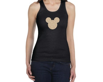 WOMENS Glitter Mickey Racerback Tank Top // Disney Vacation Shirt Bachelorette Party