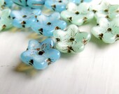 Blossom Star Flowers - 10 x 4mm pale blue green flower beads, old gold Picasso finish (10), flower beads, Picasso czech uk beads