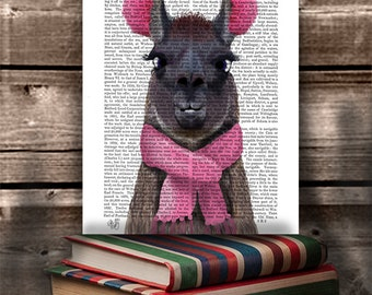 Chilly Llama in Pink - llama print llama art llama decor pink room decor modern nursery art for girls room Kids room wall art alpaca art