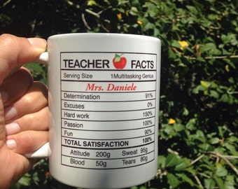 Teacher Appreciation Mug - Teacher Facts - End of the Year Teacher Gift - Teacher - Ceramic Mug