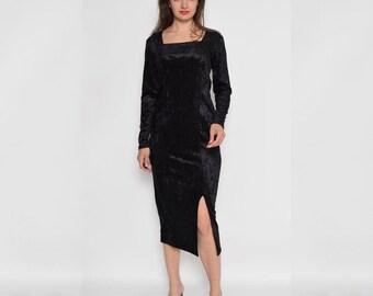 Vintage 90's Velvet Side Pleat Black Maxi Long Sleeve Dress